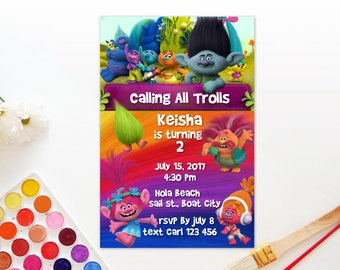 Personalized Troll Movie Birthday Party Invitation Invite Printable Trolls Characters DIY - Digital File