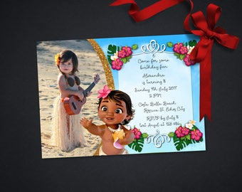 Personalized Baby Moana Photo Card Birthday Invitation Hawaiian Hula Luau Party Tropical Hibiscus Flowers Printable DIY - Digital File