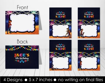 Personalized Coco Food Tent Labels Indicators Miguel Dante Hector Guitar Fireworks Bunting Birthday Party Printable DIY - Digital File