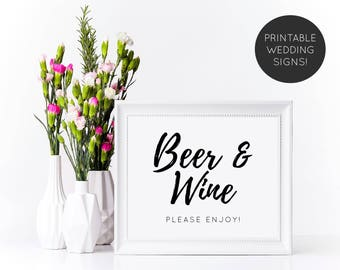 Beer and Wine Wedding Sign, Wedding Bar Sign, Bar Signage, Beer and Wine Sign, Reception Sign, Wedding Sign, Wedding Reception Sign