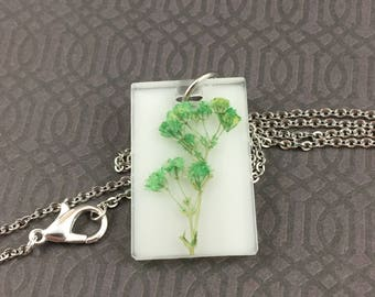Teal Baby's Breath Resin Necklace