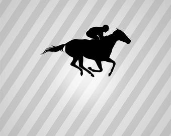 race horse Silhouette - Svg Dxf Eps Silhouette Rld RDWorks Pdf Png AI Files Digital Cut Vector File Svg File Cricut Laser Cut