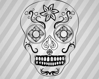 Skull, Skull Face, Sugar Skull - Svg, Cricut, Files, Stencil, Digital, Cut File, Dxf, Eps, Laser Cut Vector, Pdf, Silhouette, Png, Svg File