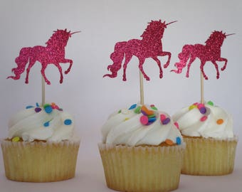 Unicorn Cupcake Toppers - Birthday - Simple Decoration - Dessert Toppers - Baby Shower - Glitter Topper