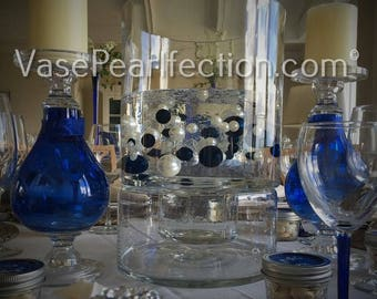 Royal Blue Pearls and White Pearls Vase Fillers in Jumbo and Assorted Sizes for Centerpieces