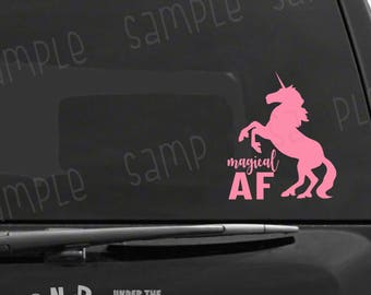 Magical AF Unicorn Decal, Funny Gift Decal, Unicorn Car Sticker, Magical Car Decal, Glitter Unicorn Vinyl, Nerdy Decal Gift, Geeky Girl Gift