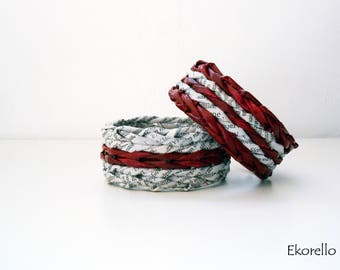 Dark red and grey handmade newspaper bracelets, Newspaper jewelry, Recycled paper, Woven, Reused, Gift for her, Eco-friendly, Unique