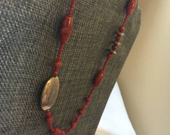 Red and Silver Adjustable length Necklace