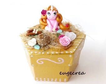 Hexagonal Unicorn pink box with polymer clay