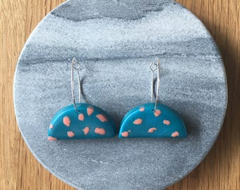 Blue and Peach Speckled Half Moon Earring