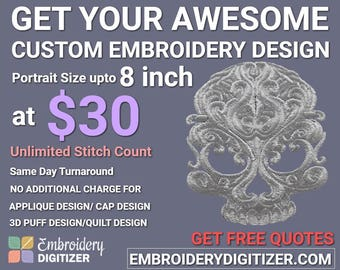Custom Embroidery Digitizing portrait size up to 8 inch