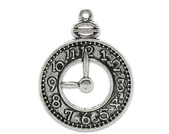 1 charm Pendant 24 * 32 mm antique silver metal clock