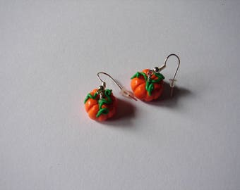 Earrings small pumpkins with polymer clay