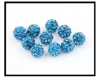 X 10 pearls shamballa 10mm turquoise rhinestone
