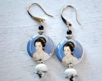 Chinese motif BEAD earrings