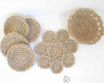 underside of coasters, coaster and basket crochet