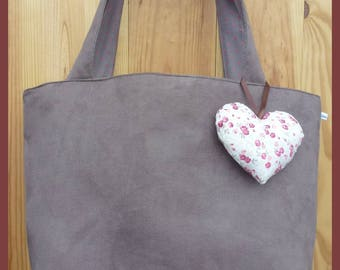 """""""My heart"""" tote bag in suede color taupe"""