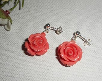 Earrings Silver 925 with Pink salmon