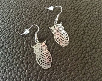 Silver-plated theme OWL earrings