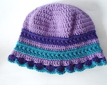 handmade hat for little girl - turquoise and lilac