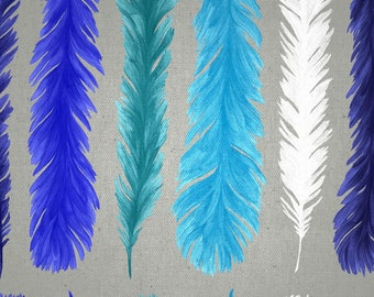 Fabric, feathers, 280cm, new world, blue, Thévenon