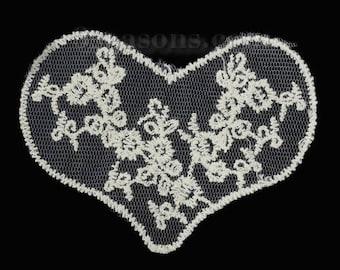 BEIGE lace APPLIQUE: heart 90 * 70mm