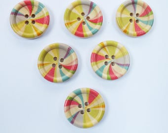 SET of 6 wood buttons: round 25mm (01) Rainbow pattern