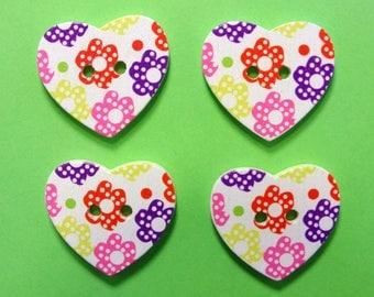 SET 4 wooden buttons: heart flower 24 * 22mm (No.11)