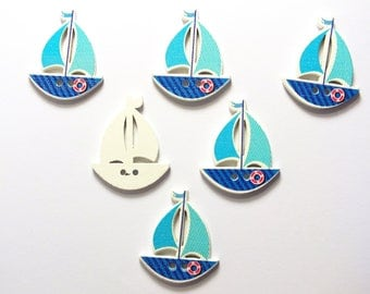 SET of 6 wood buttons: sailboat blue 30 * 25mm