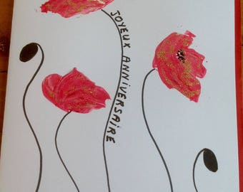 Greeting card hand painted red poppies - gold glitter birthday card - greeting card - art card