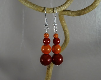 Earrings - magical - red - orange miracle beads