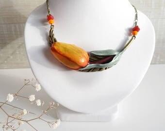 Orange Tulip necklace