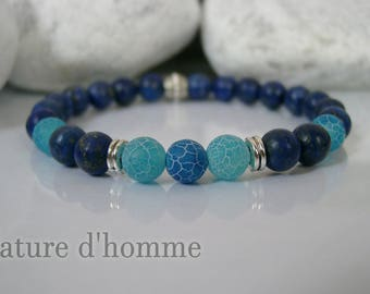 Bracelet semi-precious stones Blue Lagoon and midnight blue lapis Ref: BN-183
