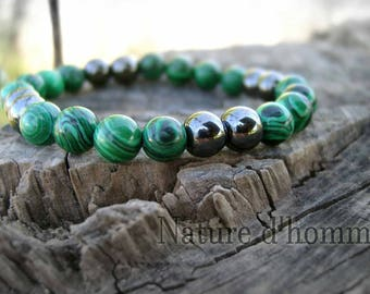 Bracelet stone green malachite and hematite marbled gray dark Ref: BN-171