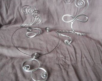 Gray and silver aluminium wire jewellery anthracite