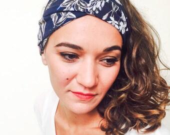 Navy blue flower elastic headband hair