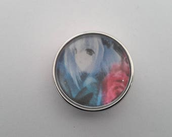 glass cabochon 18mm snap button manga blue haired girl