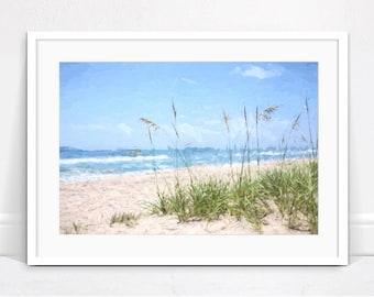Beach Print - Beach Grass Art Print, Digital Download, Ocean Print, Coastal Art, Beach Decor, Beach Picture, Printable Wall Art, Beach Art