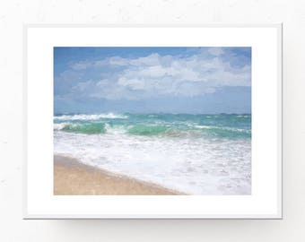 Ocean Art Print - Ocean Painting, PRINTABLE WALL ART, Digital Download, Ocean Print, Coastal Art Print, Ocean Decor, Ocean Printable, Waves