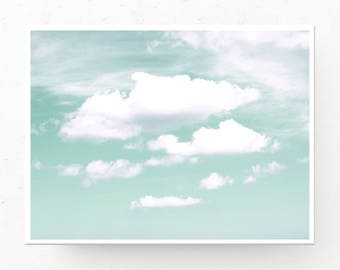 Emerald Clouds Print - Clouds Photo Download, Printable Wall Art, Emerald Decor, Clouds Download, Cloud Photography, Emerald Clouds Poster
