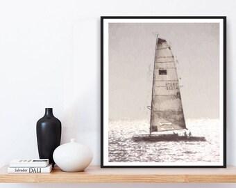 Sailboat Print, Printable Sailboat, Modern Minimalist, Printable Wall Art, Digital Download, Beach Photography, Sailboat Poster, Sailboat
