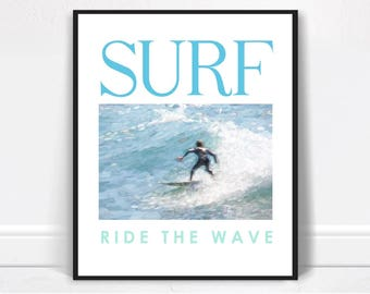 Surfing Poster Printable - Surfing Print Download, Boys Room Decor, Surfing Decor, Surfing Download, Print Download, Cool Surfing Poster