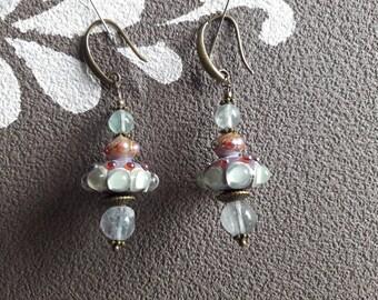 Lampwork and fluorite on bronze pearl earrings.