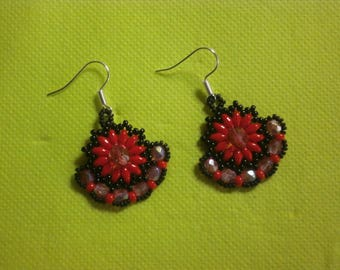 "Earrings ""Red flower""."