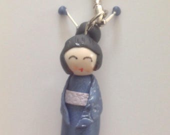 Navy Blue Kokeshi key and silver polymer clay