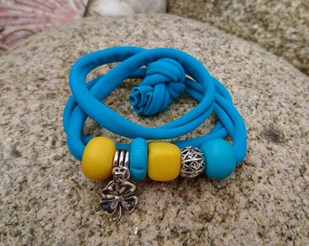 Creapam 4 in 1 bracelet in lycra and polymeric clay with a clover