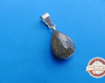 gray black drop pendant and silver stone 12x25mm