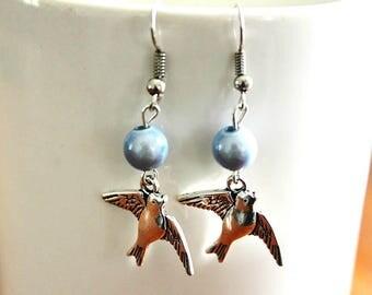 Fancy bird and beads earrings