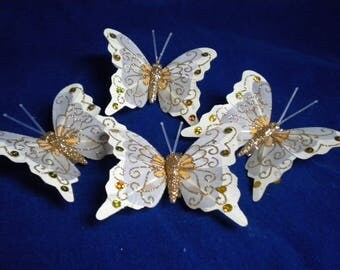 Golden Butterfly with clip cream and paillete set of 4 pieces