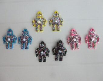 8 charms shiny rhinestone metal robot